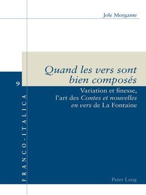 cover image of «Quand les vers sont bien composés»