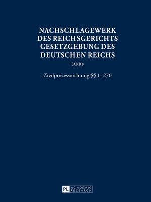 cover image of Nachschlagewerk des Reichsgerichts--Gesetzgebung des Deutschen Reichs