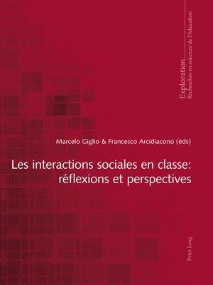 cover image of Les interactions sociales en classe
