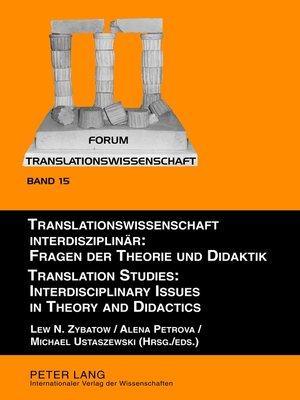 cover image of Translationswissenschaft interdisziplinaer