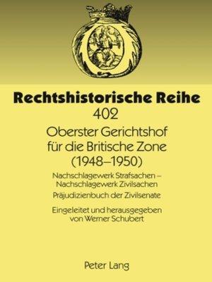 cover image of Oberster Gerichtshof fuer die Britische Zone (1948-1950)