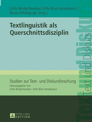 cover image of Textlinguistik als Querschnittsdisziplin