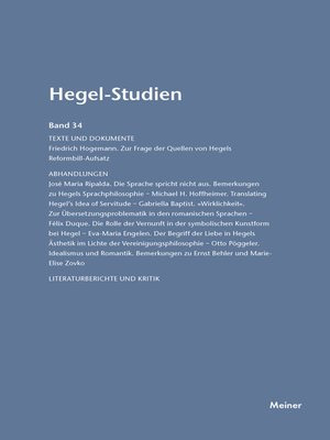 cover image of Hegel-Studien / Hegel-Studien Band 34