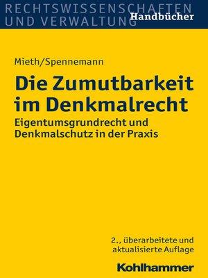 cover image of Die Zumutbarkeit im Denkmalrecht