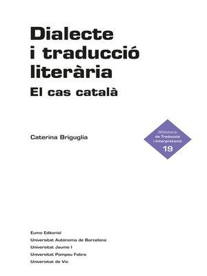 cover image of Dialecte i traducció literària