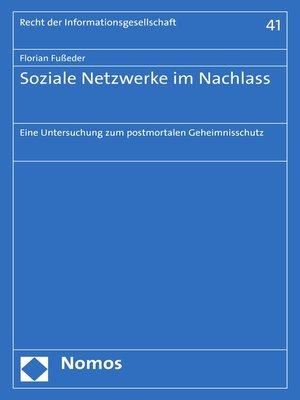 cover image of Soziale Netzwerke im Nachlass