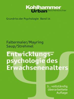 cover image of Entwicklungspsychologie des Erwachsenenalters