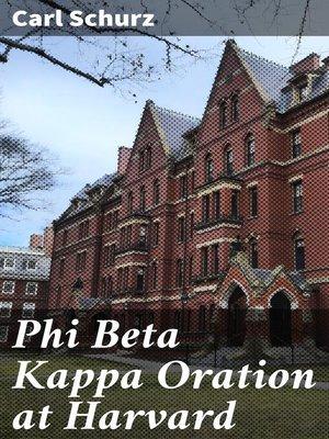 cover image of Phi Beta Kappa Oration at Harvard