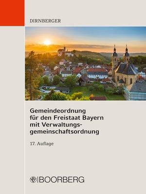cover image of Gemeindeordnung für den Freistaat Bayern  mit Verwaltungsgemeinschaftsordnung