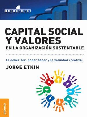 cover image of Capital social y valores en la organización sustentable