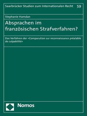 cover image of Absprachen im französischen Strafverfahren?
