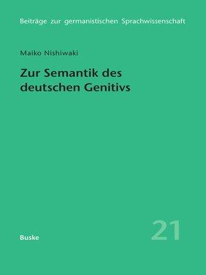 cover image of Zur Semantik des deutschen Genitivs