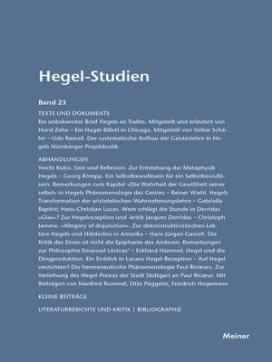 cover image of Hegel-Studien / Hegel-Studien Band 23