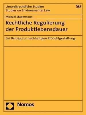 cover image of Rechtliche Regulierung der Produktlebensdauer