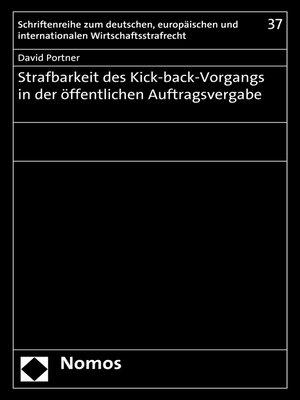 cover image of Strafbarkeit des Kick-back-Vorgangs in der öffentlichen Auftragsvergabe