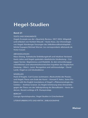 cover image of Hegel-Studien / Hegel-Studien Band 21