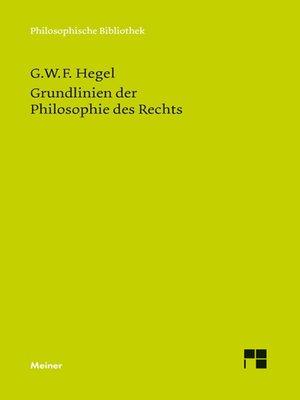 cover image of Grundlinien der Philosophie des Rechts