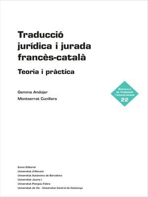 cover image of Traducció jurídica i jurada francès-català
