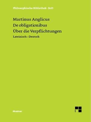 cover image of Über die Verpflichtungen. De obligaionibus.