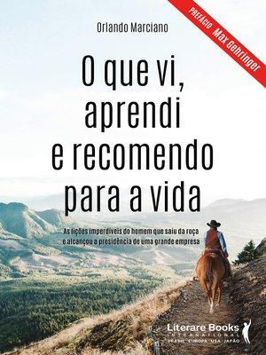 cover image of O que vi, aprendi e recomendo para a vida