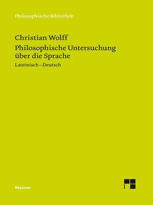 cover image of Philosophische Untersuchung über die Sprache