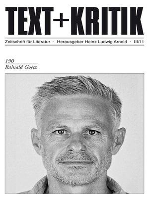 cover image of TEXT + KRITIK 190--Rainald Goetz
