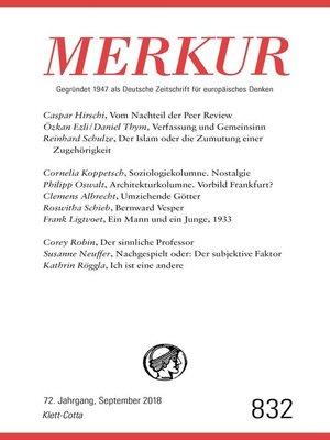 cover image of MERKUR Gegründet 1947 als Deutsche Zeitschrift für europäisches Denken--2018-09