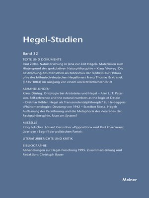 cover image of Hegel-Studien / Hegel-Studien Band 32