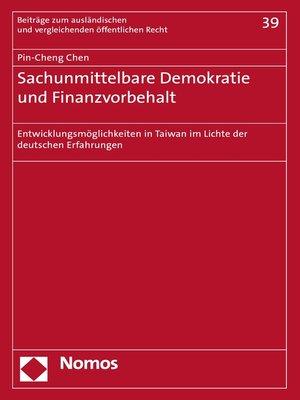 cover image of Sachunmittelbare Demokratie und Finanzvorbehalt
