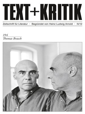cover image of TEXT + KRITIK 194--Thomas Brasch