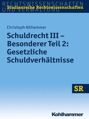 cover image of Schuldrecht III--Besonderer Teil 2