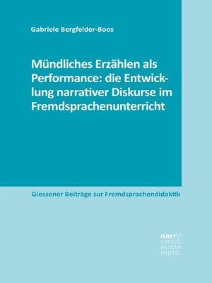cover image of Mündliches Erzählen als Performance