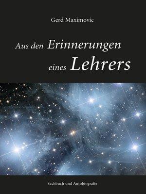 cover image of Aus den Erinnerungen eines Lehrers
