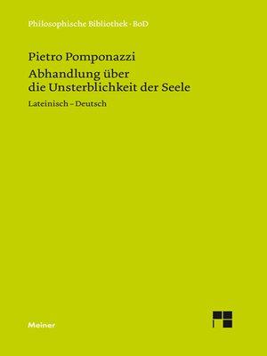 cover image of Abhandlung über die Unsterblichkeit der Seele / Tractatus de immortalitate animae