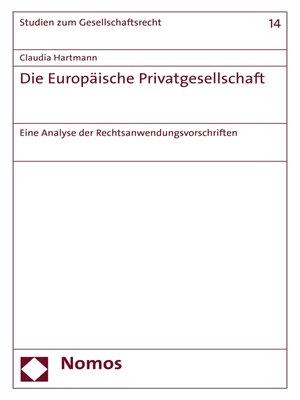 cover image of Die Europäische Privatgesellschaft