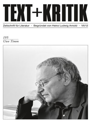 cover image of TEXT + KRITIK 195--Uwe Timm