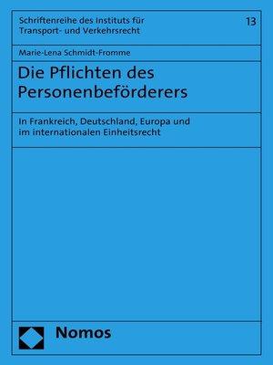 cover image of Die Pflichten des Personenbeförderers