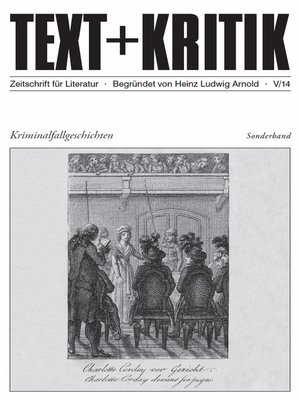 cover image of TEXT+KRITIK Sonderband--Kriminalfallgeschichten
