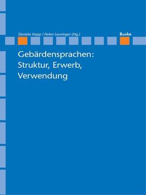 cover image of Gebärdensprachen