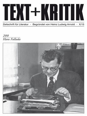 cover image of TEXT+KRITIK 200--Hans Fallada