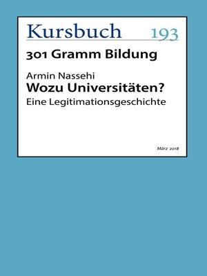 cover image of Wozu Universitäten?