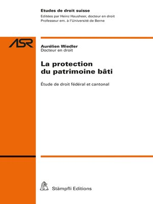 cover image of La protection du patrimoine bâti