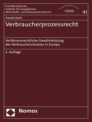 cover image of Verbraucherprozessrecht
