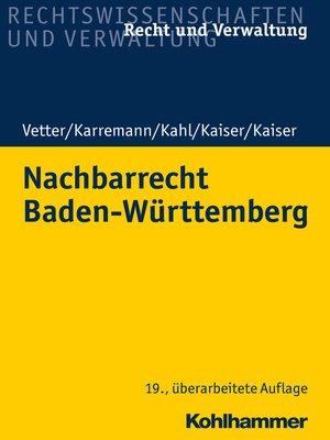 cover image of Nachbarrecht Baden-Württemberg