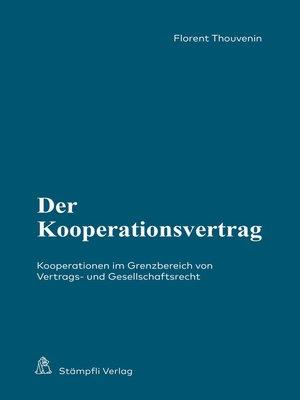 cover image of Der Kooperationsvertrag
