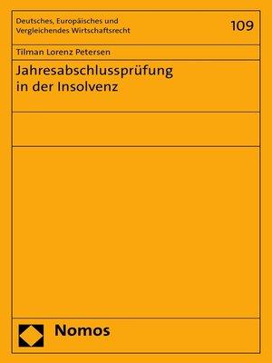 cover image of Jahresabschlussprüfung in der Insolvenz