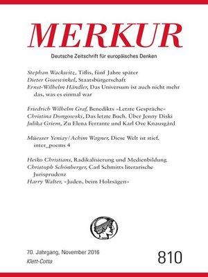 cover image of MERKUR Deutsche Zeitschrift für europäisches Denken--2016-11
