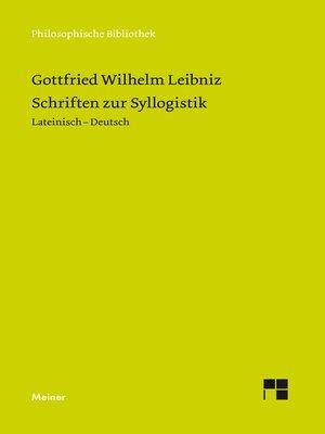 cover image of Schriften zur Syllogistik
