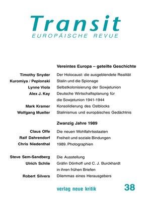 cover image of Transit 38. Europäische Revue