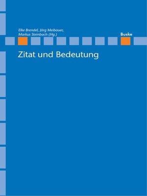 cover image of Zitat und Bedeutung